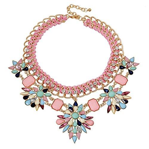 c7c2d624107a Morado y azul y rosa 2015 perfecto para vestir con piedras brillantes collar  con colgante en ...