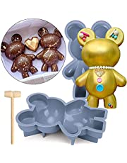 Bear Chocolate Silicone Mold, 2 Pcs Large 3D Breakable Chocolate Bear Mold with 1 Pcs Hammer for DIY Smashable Bears, Mousse Cake, Dessert Baking, Jello, Big Gummy, Birthday, Valentine Candy Making