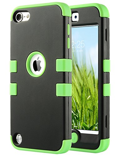 (ULAK Case for iPod Touch 6 & 5, Anti Slip Anti-Scratch iPod Touch Case Shockproof Protective Cover with Hybrid High Soft Silicone + Hard PC Case(Green))