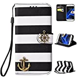 Iphone 5/5s Case, Iphone 5/5s Case, Pirate Ship Stripes Bling Premium PU Leather Wallet Credit ID Card Slot Stand Holder Purse Phone Case Cover for Iphone 5/5s