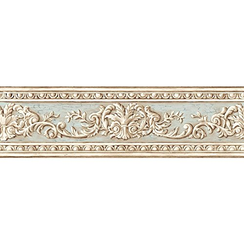 York Wallcoverings AZ5167BD Border Book Arch Fan Border, Cream/Light Blue - Classic Acanthus Leaves Wallpaper