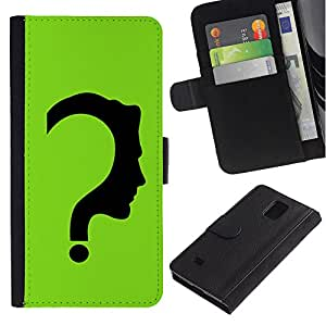 EuroCase - Samsung Galaxy Note 4 SM-N910 - The Riddler - Cuero PU Delgado caso cubierta Shell Armor Funda Case Cover