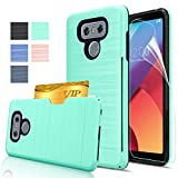 LG G6 Case,LG H872 Case,AnoKe [Credit Card Slots Holder][Not Wallet]Hard Plastic PC TPU Soft Hybrid Shockproof Heavy Duty Protective Cover Case For VS988 / LS993 / LG G6 KC2 Mint