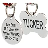 Stainless Steel Pet Id Tags: Bone, Round, Heart, Flower, Shield, House, Star, Rectangle, and Bow Tie. Includes up to 8 Lines of Customized Text - Front and Back Engraving.