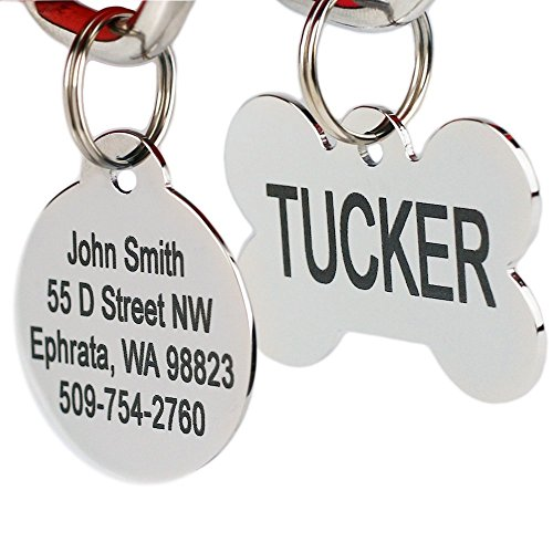 Custom Id Tags Dog - Stainless Steel Pet Id Tags, Personalized Dog Tags & Cat Tags. Up to 8 Lines of Text - Engraved Front & Back. Bone, Round, Heart, Flower, Shield, House, Star, Rectangle, & Bow Tie.