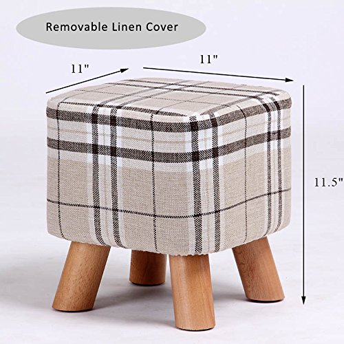 Hong Art Ottomans Square Foot Stool 4 Leg Stands(Grey Beige Straps Check Pattern)CS1790 For Sale
