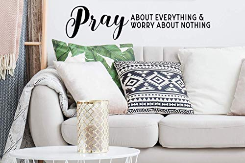 Story of Home LLC Pray About Everything Worry About Nothing Religious Bible Verse Wall Decal Vinyl Wall Art Home Decor Sticker (Best Wedding Bible Verses About Love)