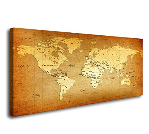 Stretched Canvas Poster - Baisuwallart-Posters & Prints Artwork Wall Art Detailed Old World Map Paintings Stretched and Framed Canvas Prints Picture for Home Decorations Office Wall Decor 20x40inch