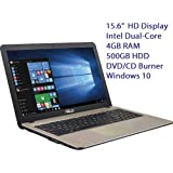 "Asus 2016 New Model 15.6"" Premium High Performance Value Laptop PC, Intel Celeron N3050, 4GB Ram, 500GB HDD, Webcam, Wifi, HDMI, DVD+/-RW, Windows 10"