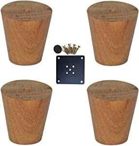 Wghz Oak Furniture Legs,Vertical,Furniture Support Feet,for Coffee Table,Closet,Sofa,Bedside Table,Table,Dining Table,with Screws,Set of 4(6cm/2.36in)
