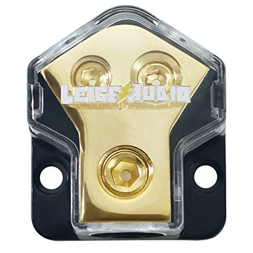 LEIGESAUDIO 0/2/4 Gauge in 4/8/10 Gauge Out 2 Way Amp Copper Power Distribution Block for Car Audio Splitter (Best Car Audio Power Wire)