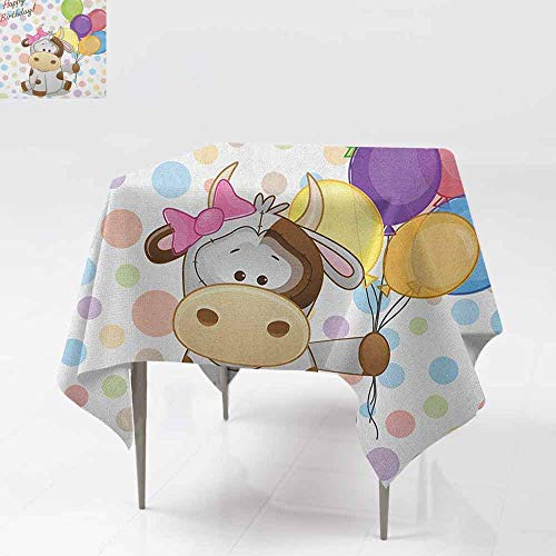 Custom Tablecloth,Kids Birthday,Baby Cow Animal and Colorful Balloons on Abstract Polka Dot Backdrop Print,Great for Buffet Table, Parties& More,60x60 Inch - Great Print Flannel Outdoors