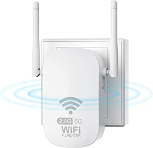 WiFi Range Extender for The Houes, SuperBooster Booster Repeater 1200Mbps (2500FT) WiFi 2.4 & 5GHz Dual Band WPS Wireless Signal Strong Penetrability, Wide Range of Signals, Enjoy Gaming Movies
