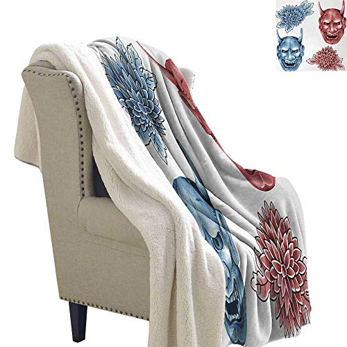 Jinguizi Kabuki Mask Blanket Small Quilt Different Colored Masks of Japanese Demoness Figures Ornate Flowers Art Cozy All-Season Berber Fleece Throw Blanket 60x78 Inch Blue Red White]()