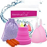 Timkdle 3 pcs/Set Menstrual Cup (Size S + L) and Sterilised Cup with 3 pcs Disposable Latex Finger Protections Women's Feminine Hygiene Cup (Pink)