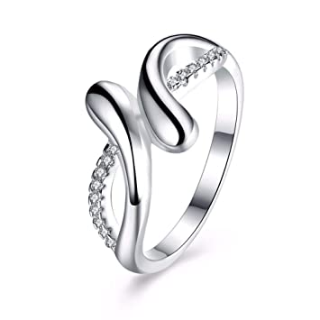 ZHOUYF RING Anillo Crossed Design Female White Finger Ring 925 ...