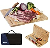 Wealers Camping Cutting Board Travel Set - For outdoor picnics, BBQ, Hiking - Portable 5 Piece Pack includes Folding Wood Chopping Block| Chef Knife| Kitchen Scissors| Cooking Tongs| Tote Bag