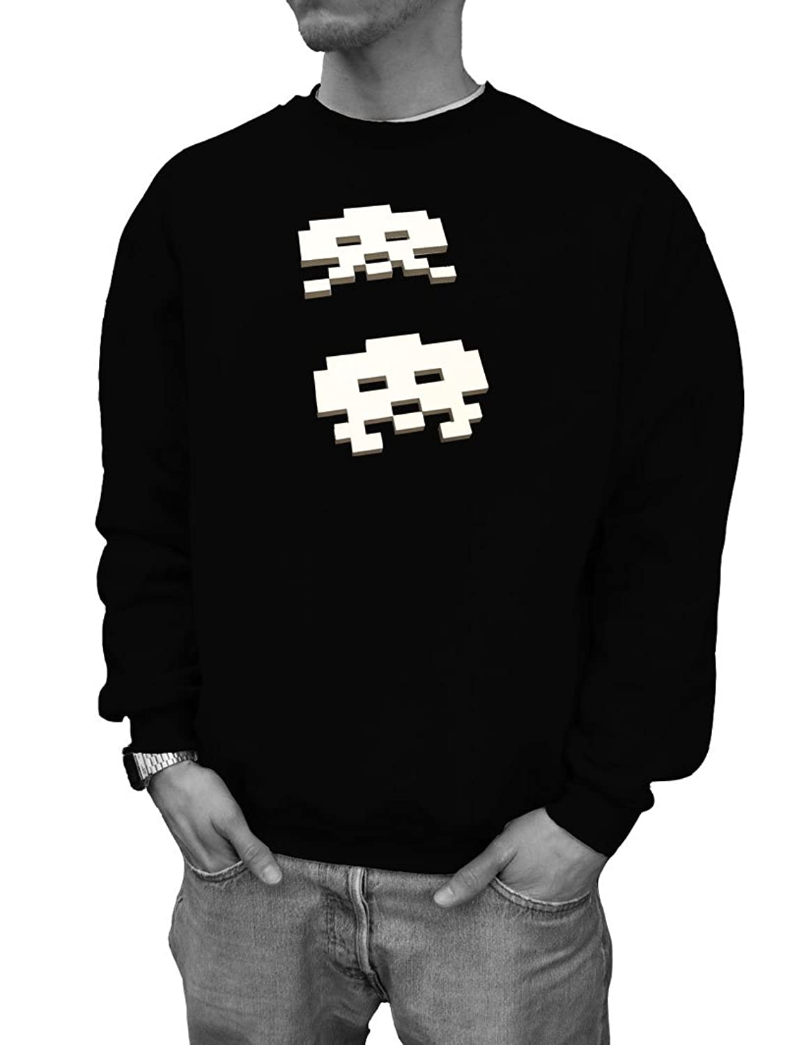 """SPACE INVADERS"" VERSION 1 C64 Designer Pullover Black Wizuals Gr??e M schwarz"