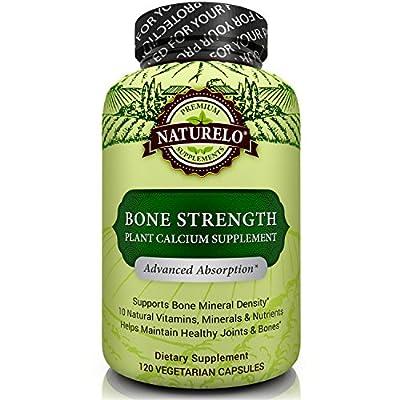 NATURELO Bone Strength - with Plant Calcium, Magnesium, Vitamins C, D3, & K2 - Best Whole-Food Supplement for Bone Health - 120 Vegetarian Capsules