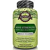 [24 Hour Sale] NATURELO Bone Strength - with Plant Calcium, Magnesium, Vitamins C, D3, & K2 - Best Whole-Food Supplement for Bone Health - 120 Vegetarian Capsules