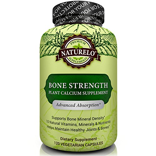 NATURELO Bone Strength - with Plant Calcium, Magnesium, Vitamins C, D3, & K2 - Best Whole-Food Supplement for Bone Health - 120 Vegetarian Capsules