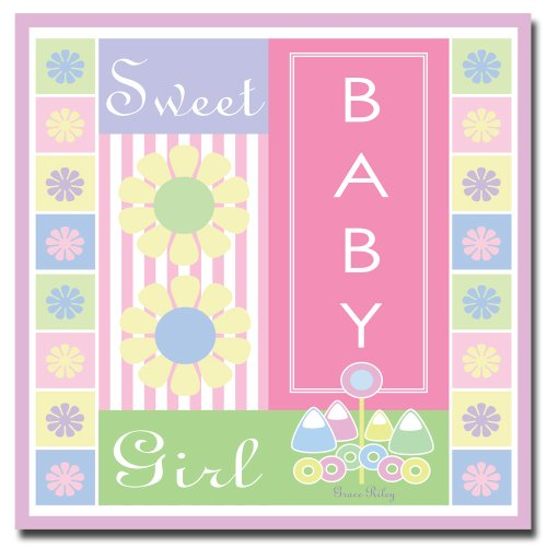 Trademark Fine Art Sweet Baby Girl by Grace Riley Canvas Wall Art, 14x14-Inch