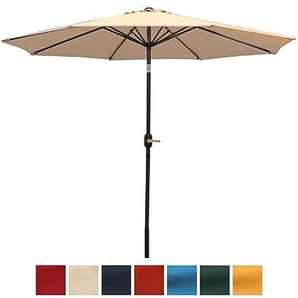 Sunnydaze Outdoor Patio Umbrella 9 Foot, Aluminum Market Table Umbrella For  Patio Or Deck,