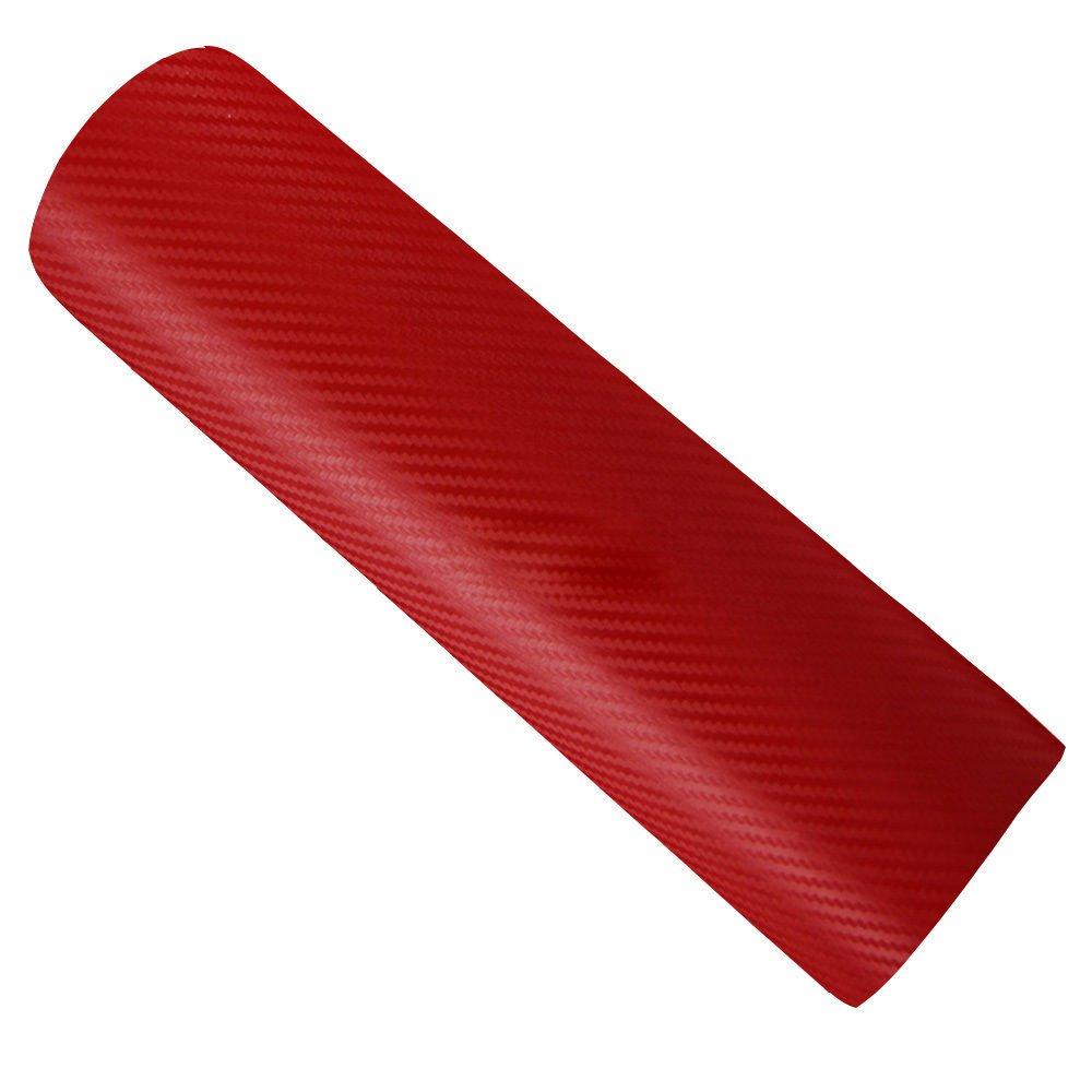 Hoho 3D cromato in fibra di carbonio rosso vinile avvolgere auto sticker film Air free Bubbles 152,4/x 30,5/cm
