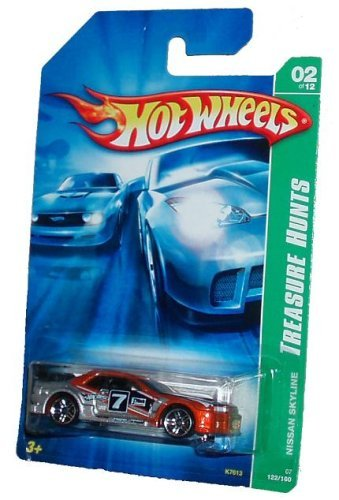 Mattel Hot Wheels 2006 TREASURE HUNTS Series 1:64 Scale Die Cast Metal Car # 2 of 12 - Silver/Copper/Black Color Rally Car NISSAN SKYLINE with Black Spoiler