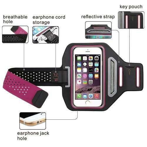 Coverlab Compatible for iPod Touch 6th Gen, Touch 5th Generaztion Multifunctional Outdoor Sports Armband Casual Arm Package Bag Cell Phone Bag Key Holder For iPod iTouch 5/6 - Hot Pink