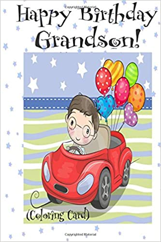 Happy Birthday Grandson Coloring Card Personalized Birthday