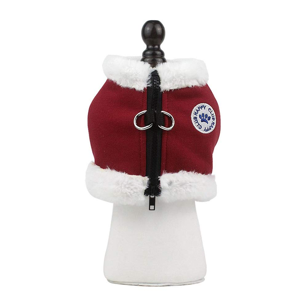 RED M(44cm) RED M(44cm) Dog Vest Harness, Plush Chest Strap Suitable for Small Dogs Vest Teddy Leash Adjustable Traction Outdoor Training Running Safety Buffer Pet Supplies (color   RED, Size   M(44cm))