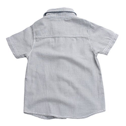 Boys Plaid Button Down Shirts Turn-Down Collar Short Sleeve Cotton Tops Color Grey Size 6A by Snowdreams (Image #2)