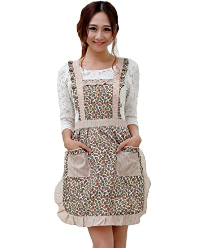 Hyzrz Newly Cute Pastoral Style Fashion Flower Pattern Housewife Home Chef Cooking Cotton Apron Bib with Pockets 7