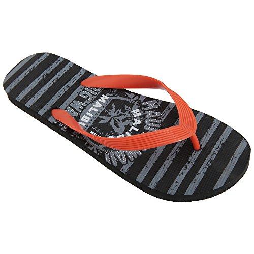 FLOSO - chancletas de playa tira de dedo Modelo Maui Hawaii hombre caballero Gris/Naranja
