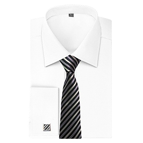 ef68f5d2650 Alimens   Gentle Men s Dress Shirts French Cuff Long Sleeve Regular Fit (Include  Metal Cufflinks and Metal Collar Stays) (15.5   Neck 34  -35   Sleeve