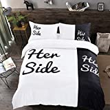 Black White Duvet Cover King His Side Her Side Bedding Set 3Pcs Lightweight Soft Microfiber Bedding Cover with Zipper...