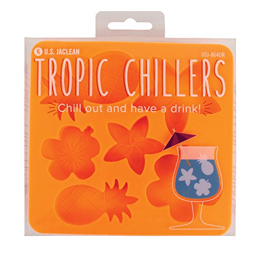 Tropic Chillers Silicone Ice Cube Tray - Beach Themed Shaped Ice Cubes - Orange]()