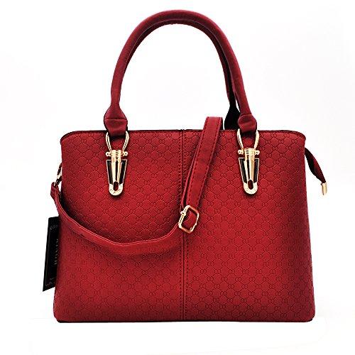 Women Handbag,Women Bag, Shoulder Bag KINGH Zip Closure Tote Vintage Bag PU Leather 119 Deep - Leather Deep Red Handbag