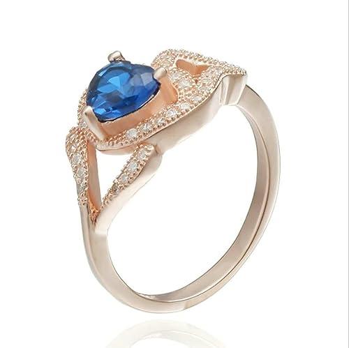 Plata de Ley daesar anillos boda bandas para las mujeres Corazón Oro Rosa Tamaño L 1