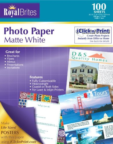 Royal Brites Matte Coated Photo Paper, 2 Sided, Heavy Weight, 8.5 x 11 Inches, Pack of 100