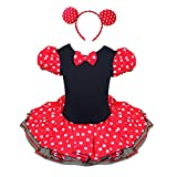 iEFiEL Girls Kids Halloween Polka Dots Fancy Dress Costume Ballet Princess Tutu Dresses with Ears Headband Red 8-10 Years