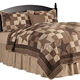 The BitLoom Co. Rustic Country, Star Patch Black 5 Piece King Quilt Set