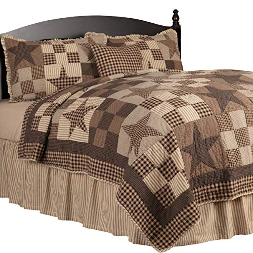 The BitLoom Co. Rustic Country, Star Patch Black 5 Piece Queen Quilt Set