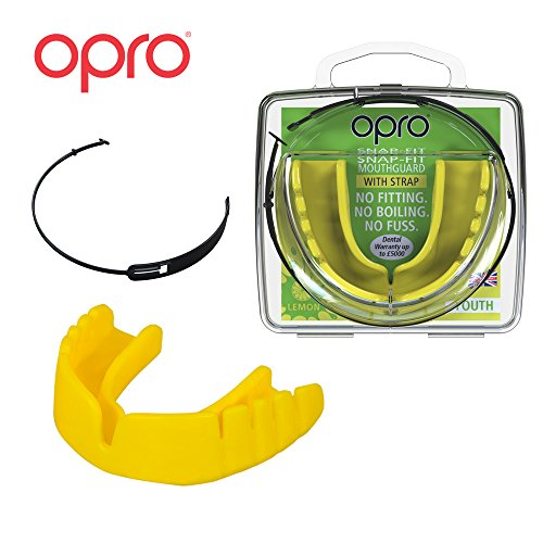 OPRO Mouthguard Snap-Fit Gum Shield + Strap for Ball, Combat and Stick Sports -18 Month Warranty (Adult and Kids Sizes) (Lemon Flavored Yellow, Adult)
