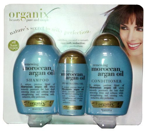 Organix Moroccan Argan Oil Combo Pack (Shampoo 13oz + Conditioner 13oz + Pentrating Oil 3.3oz)