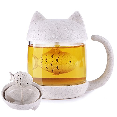 Cute Cat Tea Cup Mug With Fish Infuser 8 5Oz Glass Mug