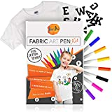FREE Video Guide Permanent Fabric Paint Pens Set T Shirts Accessories Vibrant Non-Toxic Kid-Friendly Watercolour Markers Painting Kit for Clothing Canvas Jeans Colouring Art Set with Iron-On Letters