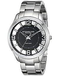 Stuhrling Original Men's 754.02 Classic Winchester Court Swiss Quartz Black Dial Stainless Steel Bracelet Watch