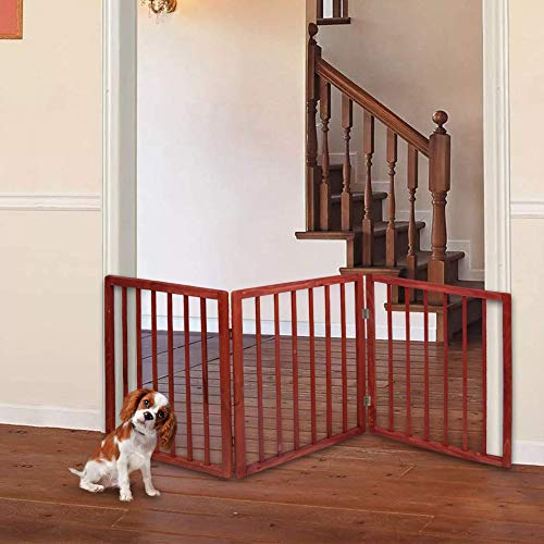Hoovy Original Pet Gate | Freestanding Folding Indoor Safety Wooden Pet Gate | Stairway, Hallway, & Room Divider for Small Pets & Dogs | Goes with Home Decor